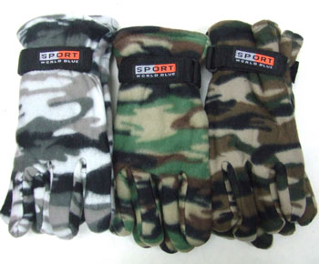 BS23223  Men Camouflage Fleece Gloves-12dz./ case