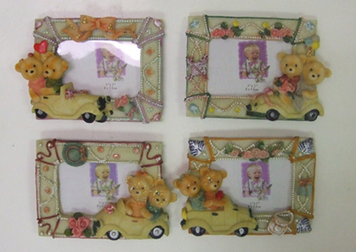 "DL23306-3 3""x2"" Bears on Wheels Picture Frame- 100/case"