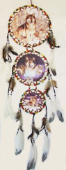 DL23372-9 3 Tier Color Stone Dreamcatcher- 60/case