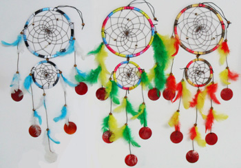 DL23411- Multi Color 2 Tier Dream Catcher Wind Chime-16 dz. /cas