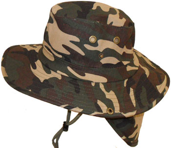 HW23135A Camouflage Hat w/ Back Flap- 120/case