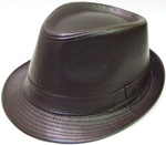 HW23422 Faux Leather Fedora Hat- 120/case