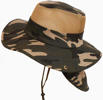HW23690-2 Camouflage Mesh Hat w/ Back Flap-120/case