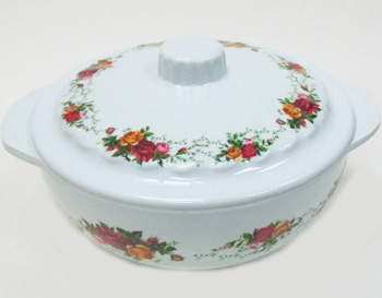 "KH23016RO 6.5"" Rose Bowl w/ Lid and Handles 48/case"