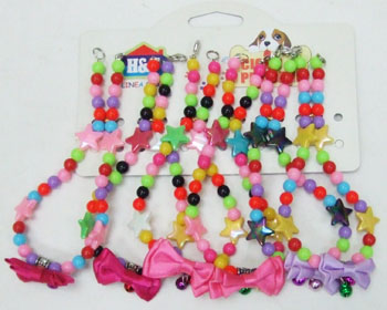 PS23148  Dog Collar-Beads and bow-300/case