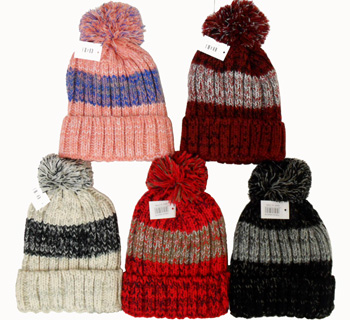 WA23116 Striped Knit Ski Hat with Fur Lining-12 Dz./case