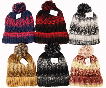 WA23118 Knit Ski Hat with Fur Lining & Pompom-12 Dz./case